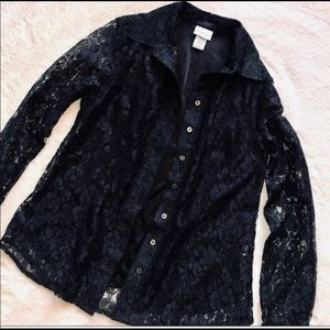 Jaclyn Smith Black Goth Lace Button Up Blouse S